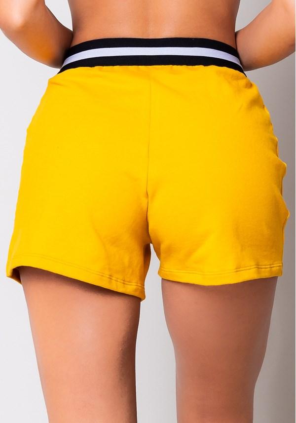 Short moletom amarelo com recortes e elástico