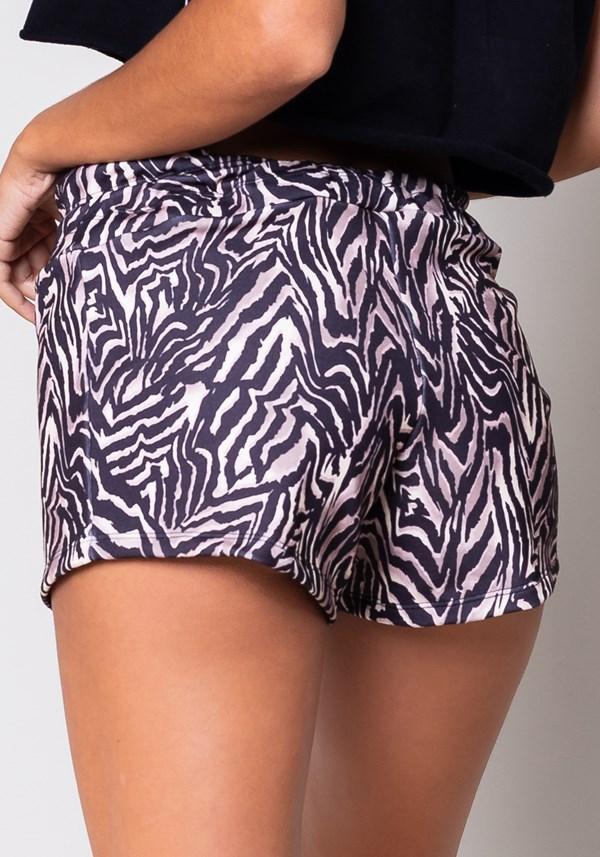 Short moletom warm up com cadarço estampa zebra