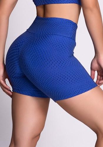 Short poliamida azul texturizado 3d