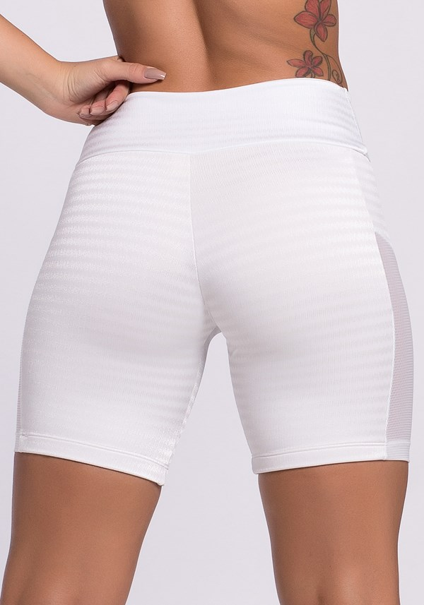 Short poliamida branco com tela frequency