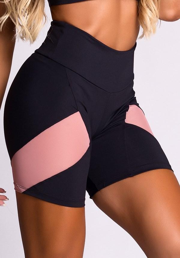 Short poliamida preto recortes em tela rosa