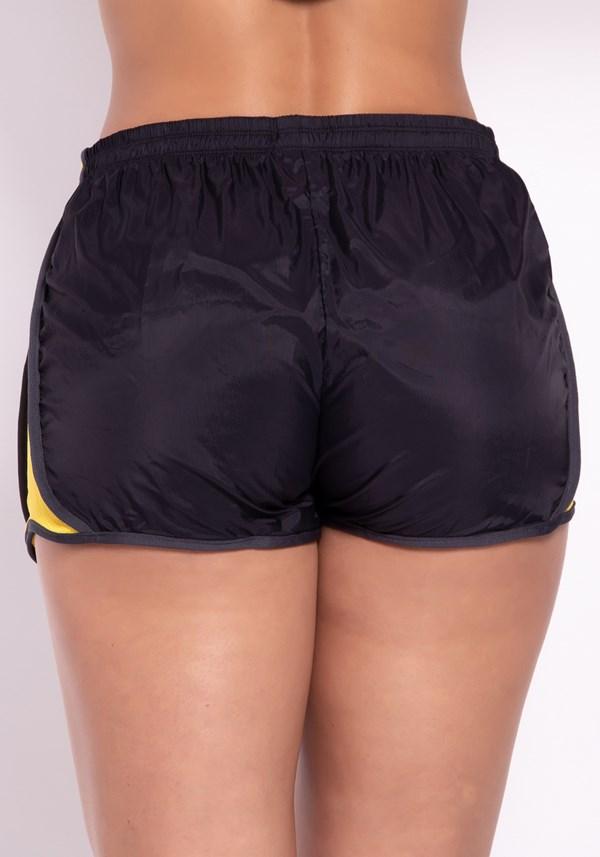 Short preto running com dry fit amarelo