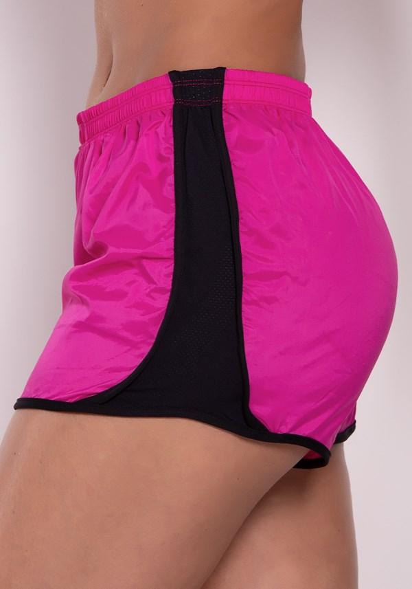 Short rosa running com dry fit preto