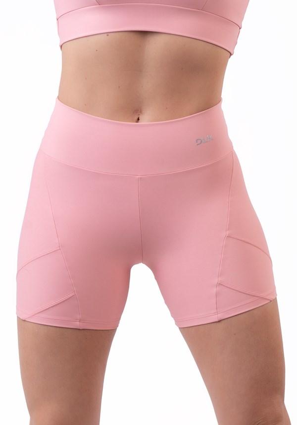 Short rosê com recorte duplo lateral básico