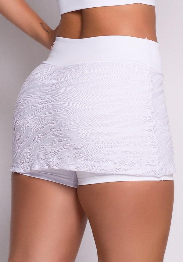 Short saia branco com renda