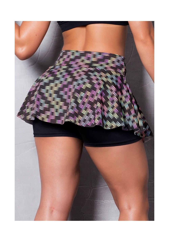 Short saia estampado neon colors