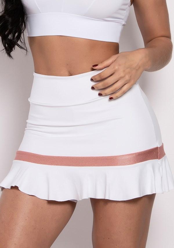 Short saia poliamida branco com detalhe texturizado rosê