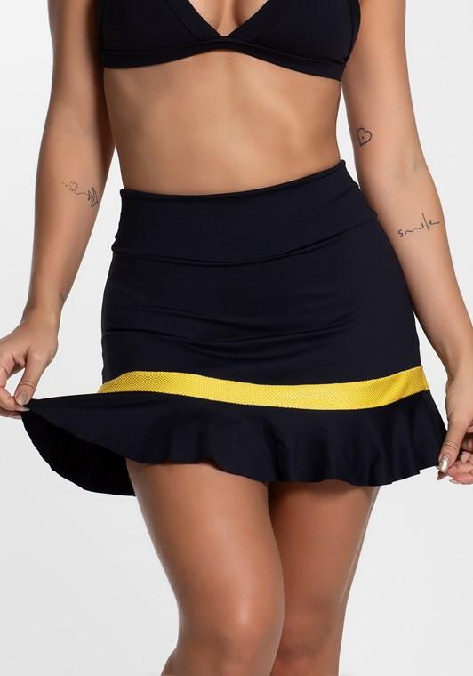 Short saia poliamida preto com detalhe texturizado amarelo