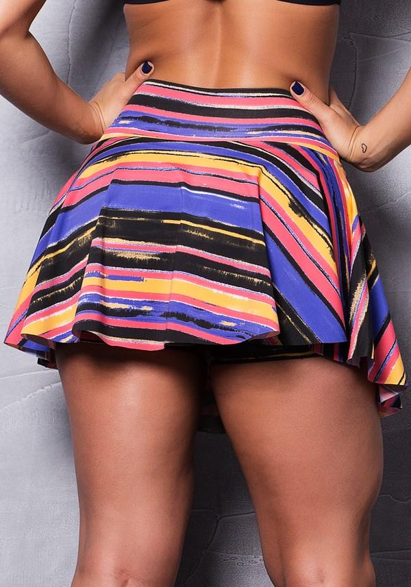 Short saia rodado estampado neon colors