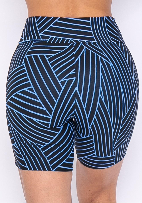 Short technology com elástico linhas pretas e azul