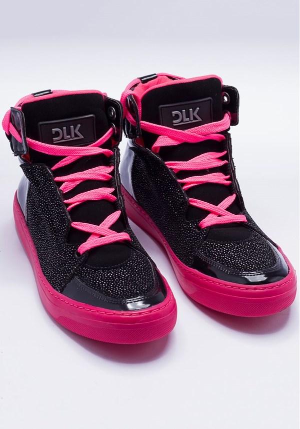 Sneaker preto e rosa com brilho
