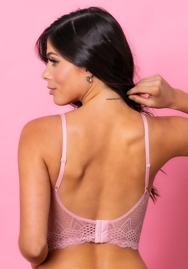 Sutiã cropped com bojo intimate rendado rosa