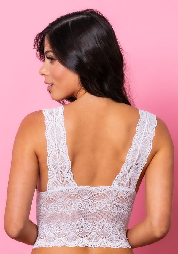 Sutiã cropped modelo triângulo com bojo intimate rendado branco