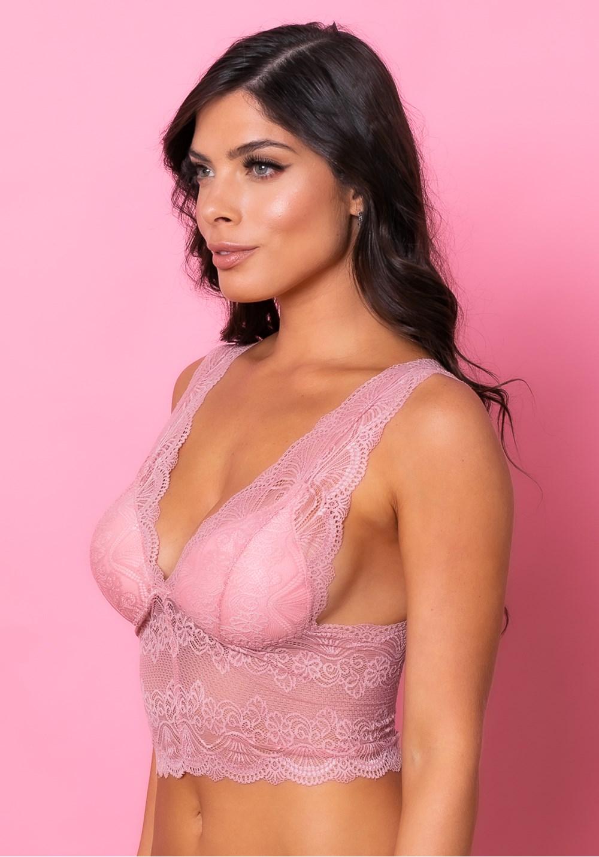 Sutiã cropped modelo triângulo com bojo intimate rendado rosa