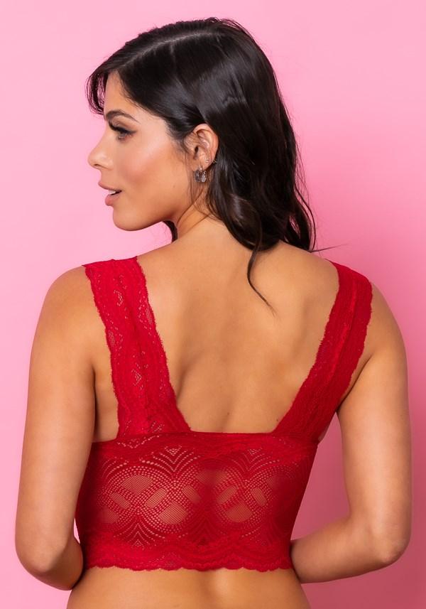Sutiã cropped modelo triângulo com bojo intimate rendado vermelho