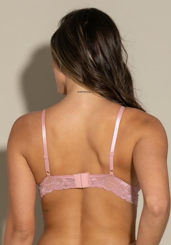 Sutiã cropped sem bojo intimate em renda com strappy rosa
