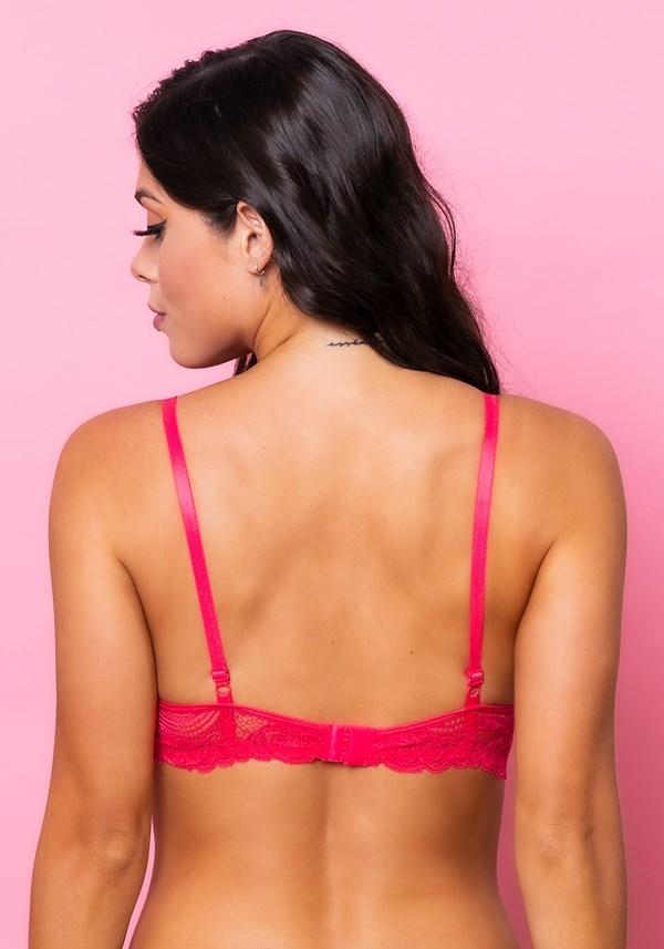 Sutiã meia taça com bojo intimate em microfibra e base em renda rosa