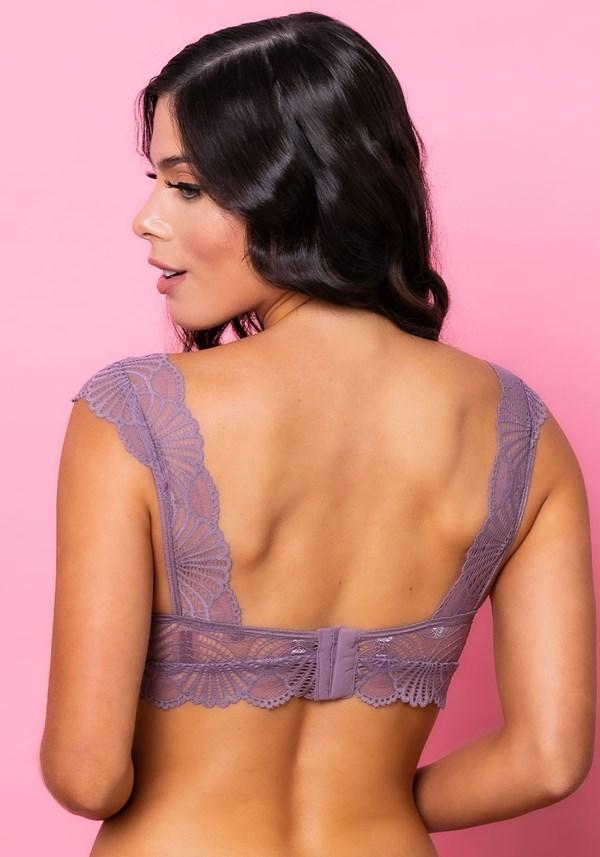 Sutiã modelo triângulo sem bojo intimate com decote v rendado lilás