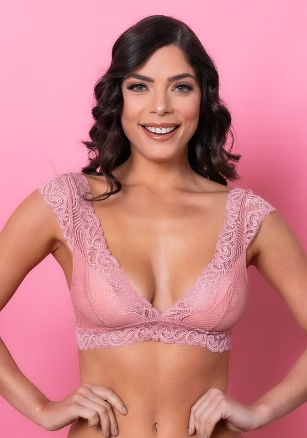 Sutiã modelo triângulo sem bojo intimate com decote v rendado rosa