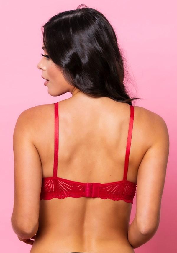 Sutiã modelo triângulo strappy sem bojo intimate rendado vermelho