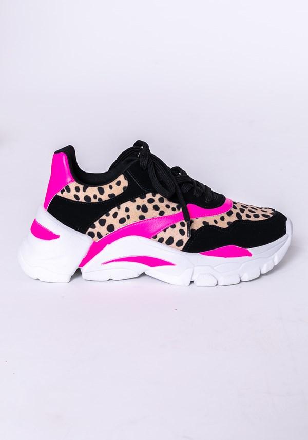 Produto Tênis modelo nobuck shoes preto animal print e pink neon