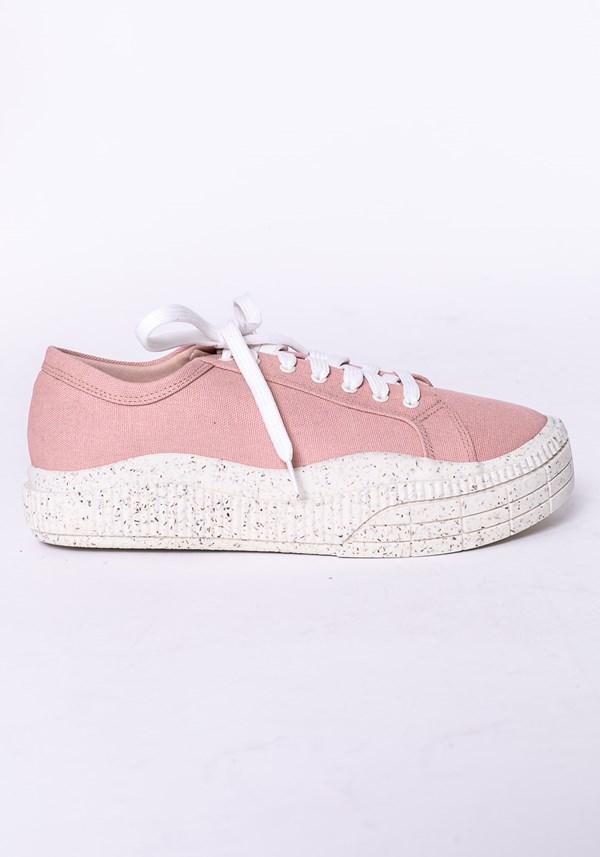 Tênis modelo plataforma shoes em lona e tela rosa