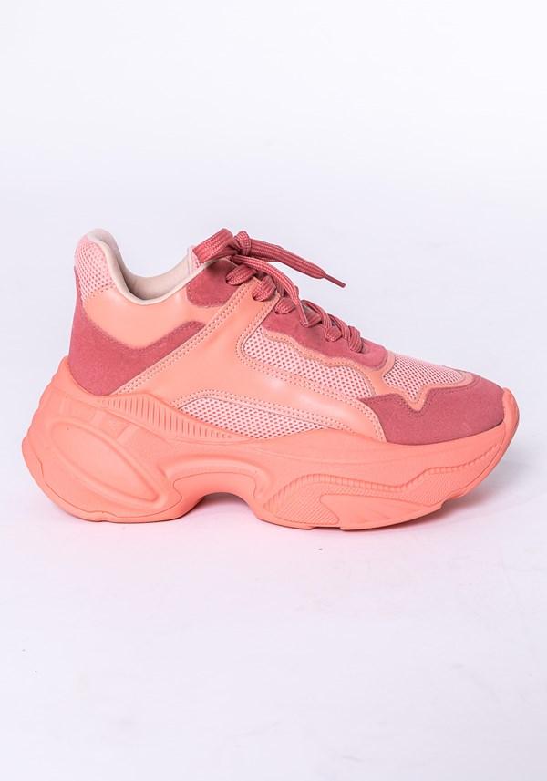 Tênis modelo skin shoes em camurça e tela salmão