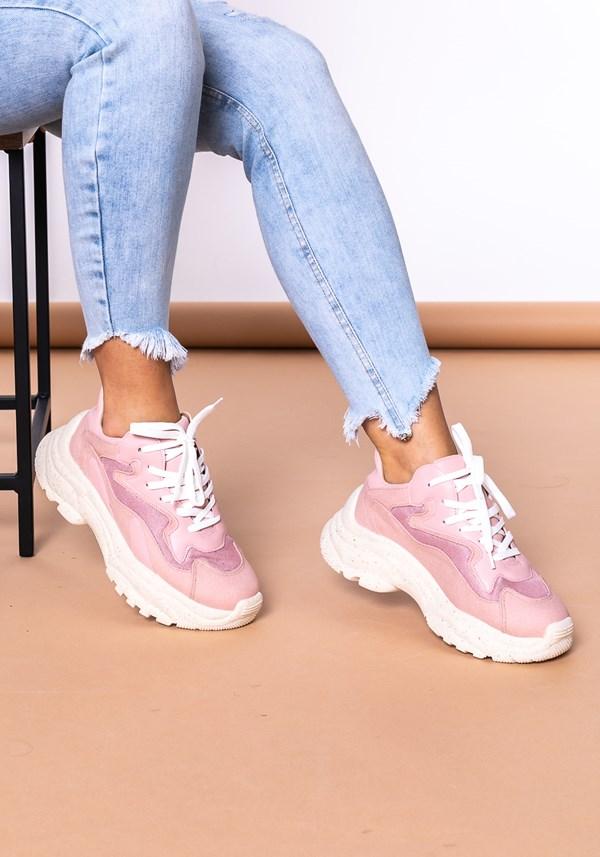 Tênis modelo skin shoes em lona e tela rosa