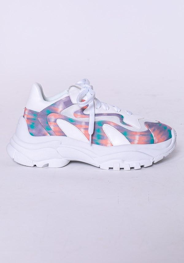 Produto Tênis modelo skin shoes em tela dupla branco e tie dye
