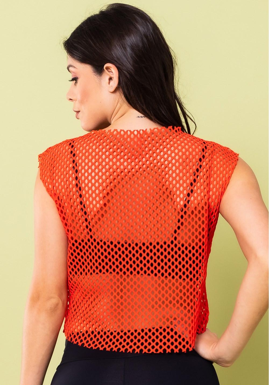 Top cropped energy tela mesh laranja
