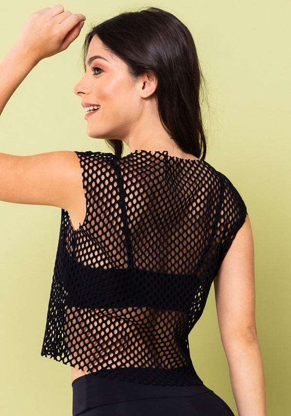 Top cropped energy tela mesh preto