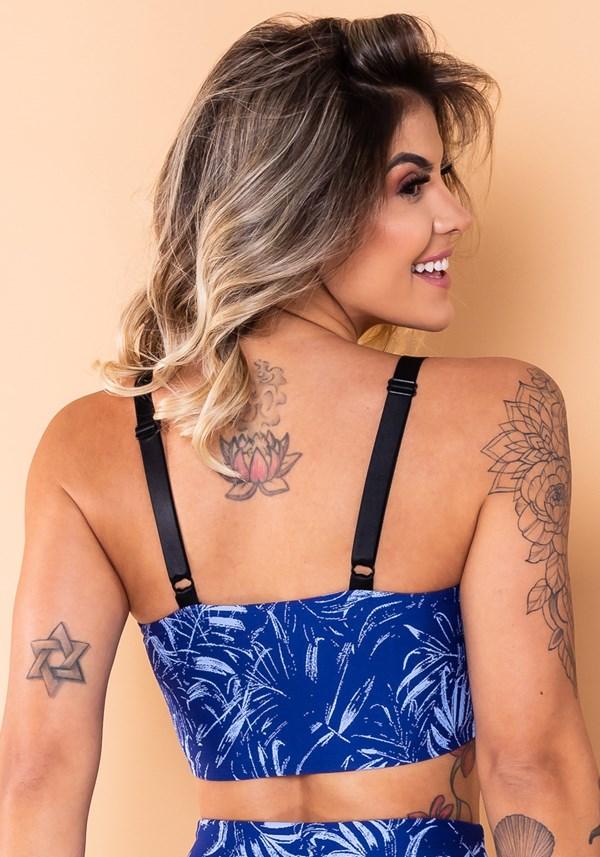 Top faixa com alça jacquard folha azul