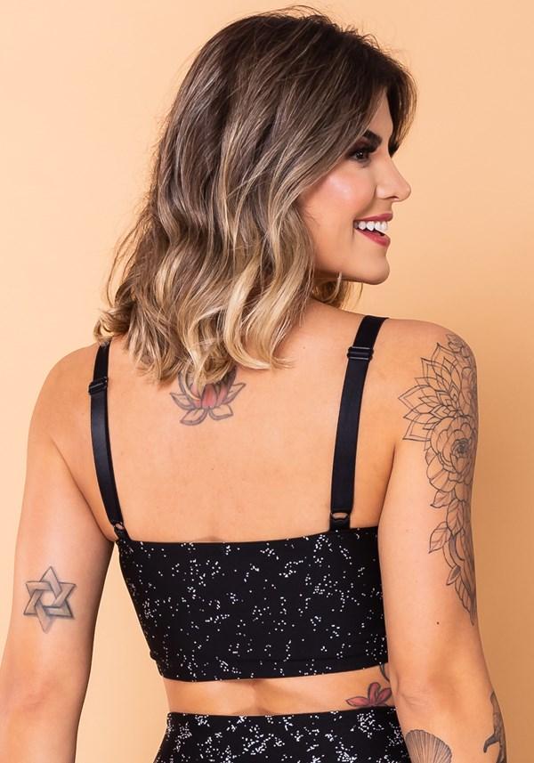 Top faixa com alça jacquard preto estrela branca
