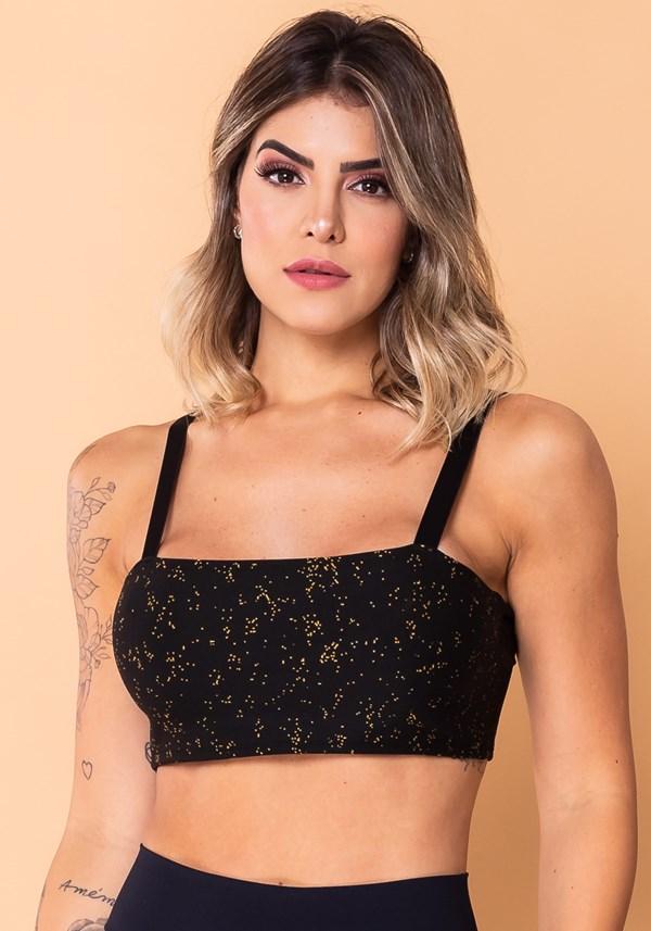 Top faixa com alça jacquard preto estrela dourada