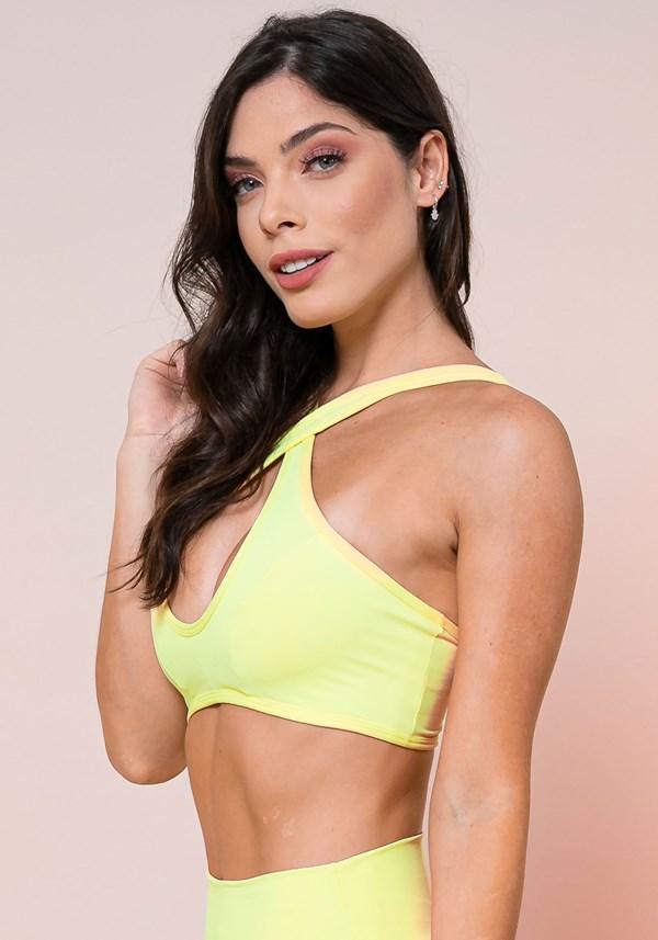 Top fitness amarelo cruzado básico