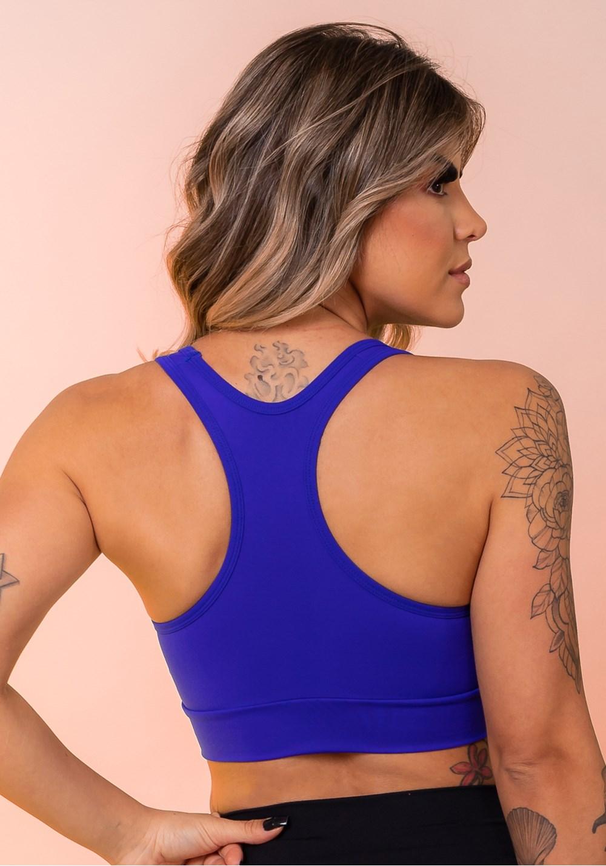 Top fitness azul bic nadador com recortes básico