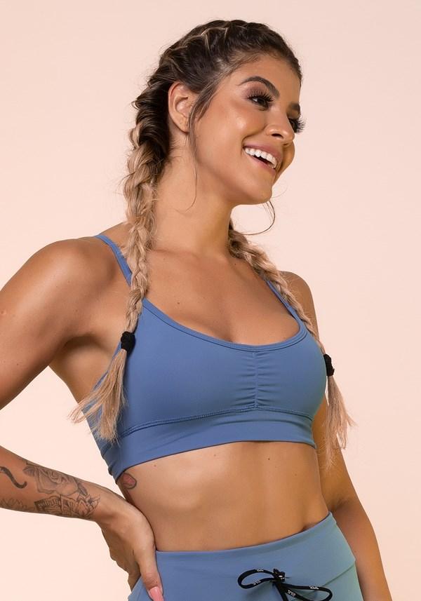 Top fitness azul franzido básico