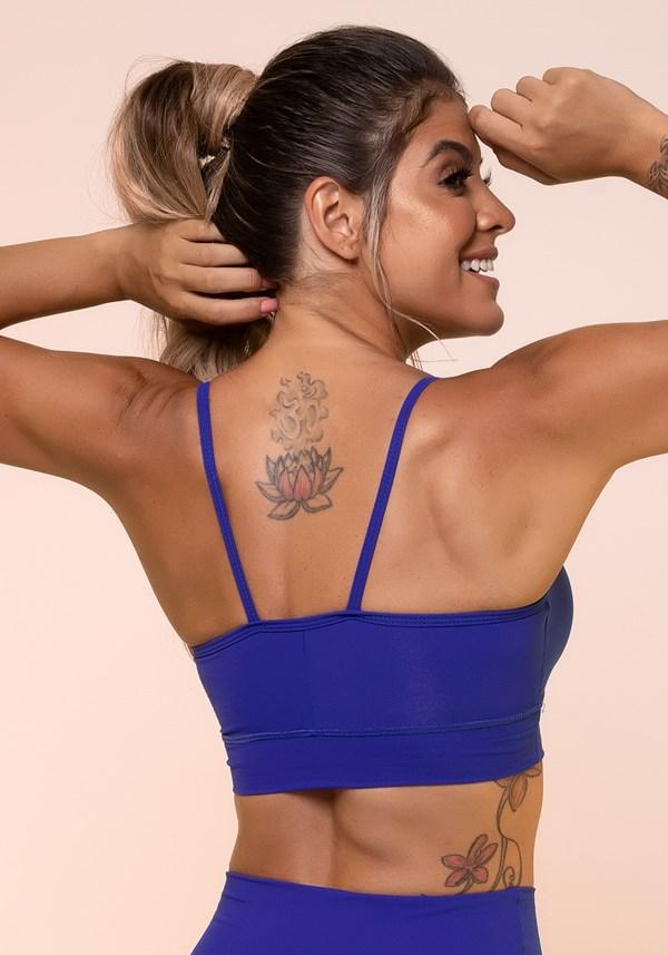 Top fitness azul royal franzido básico