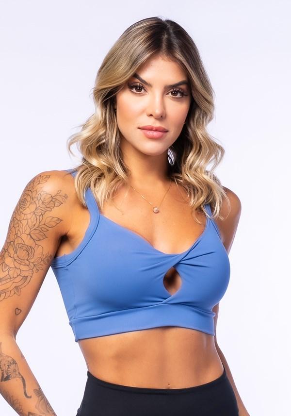 Produto Top fitness azul transpassado básico