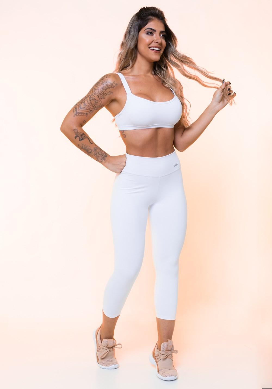Top fitness branco alça longa básico