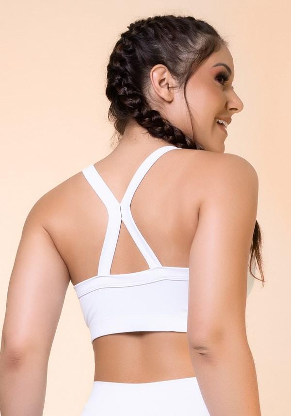 Top fitness branco com recortes e tiras básico