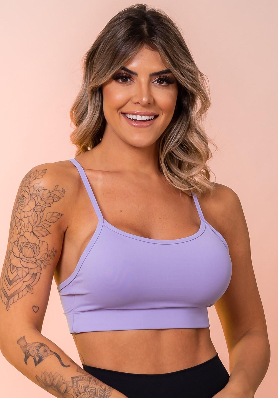 Top fitness com bojo básico e alças finas lilás