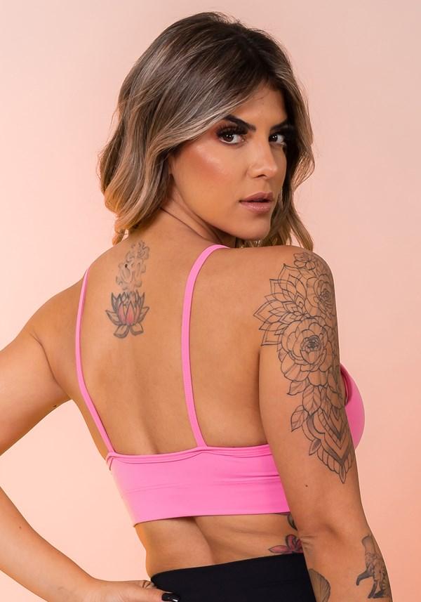 Top fitness com bojo básico e alças finas rosa