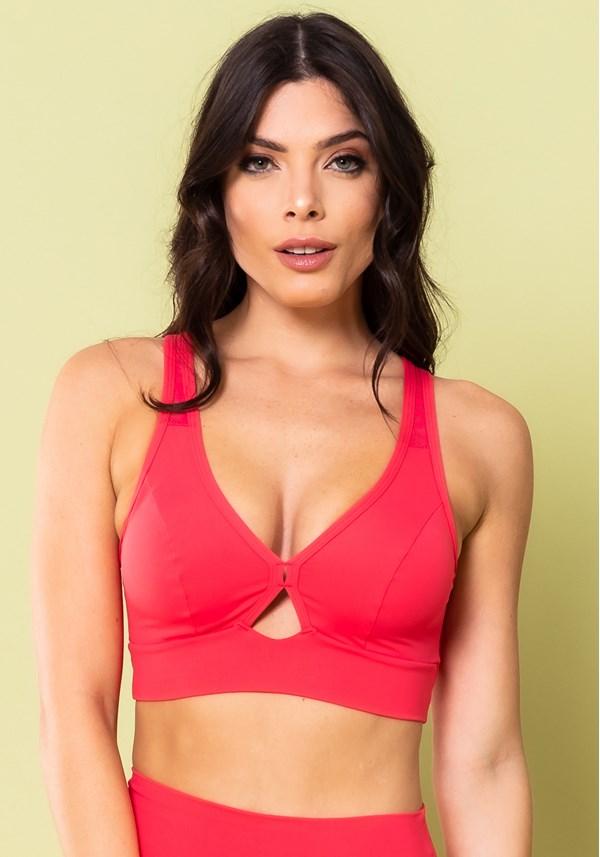 Top fitness com bojo removível energy detalhe em tela cruzado rosa