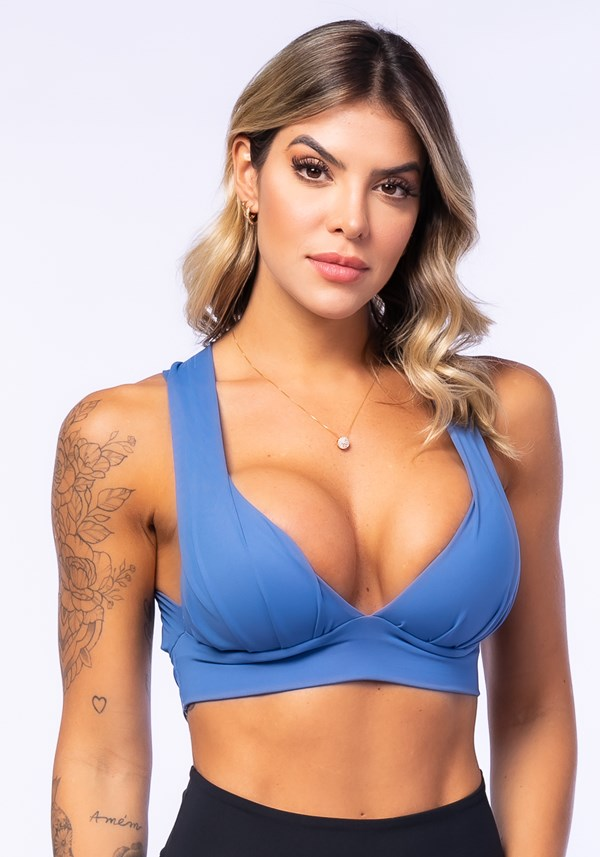Top fitness drapeado azul com bojo