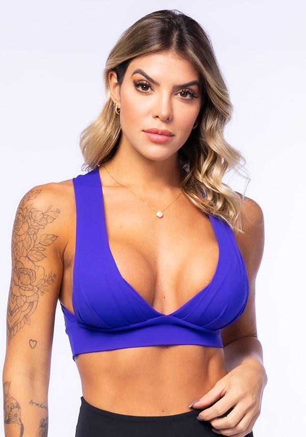 Produto Top fitness drapeado azul royal com bojo