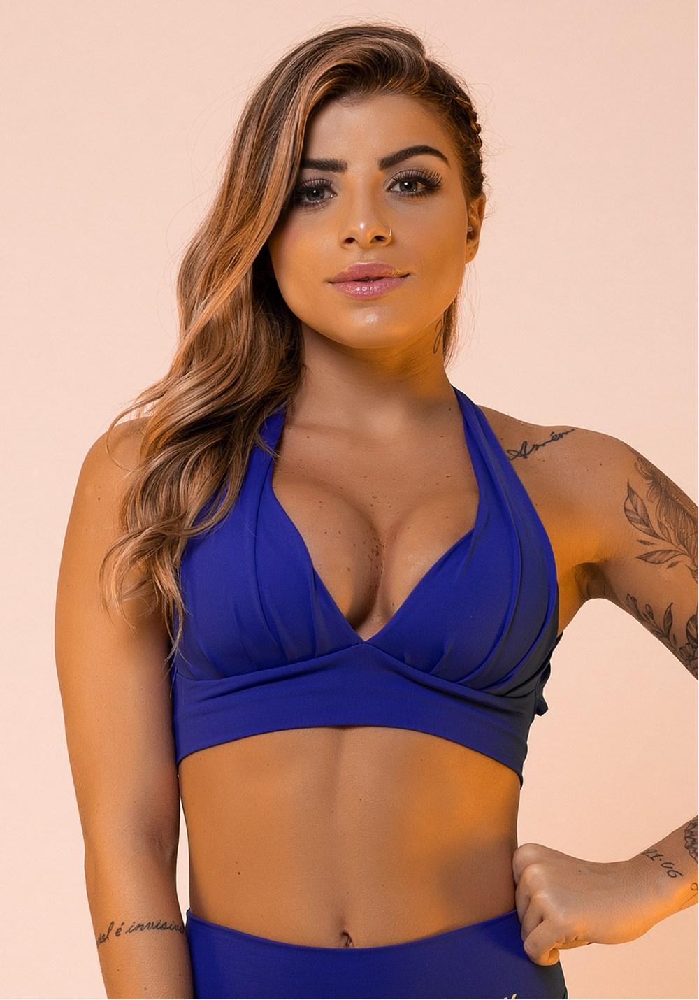 Top fitness drapeado azul royal com bojo