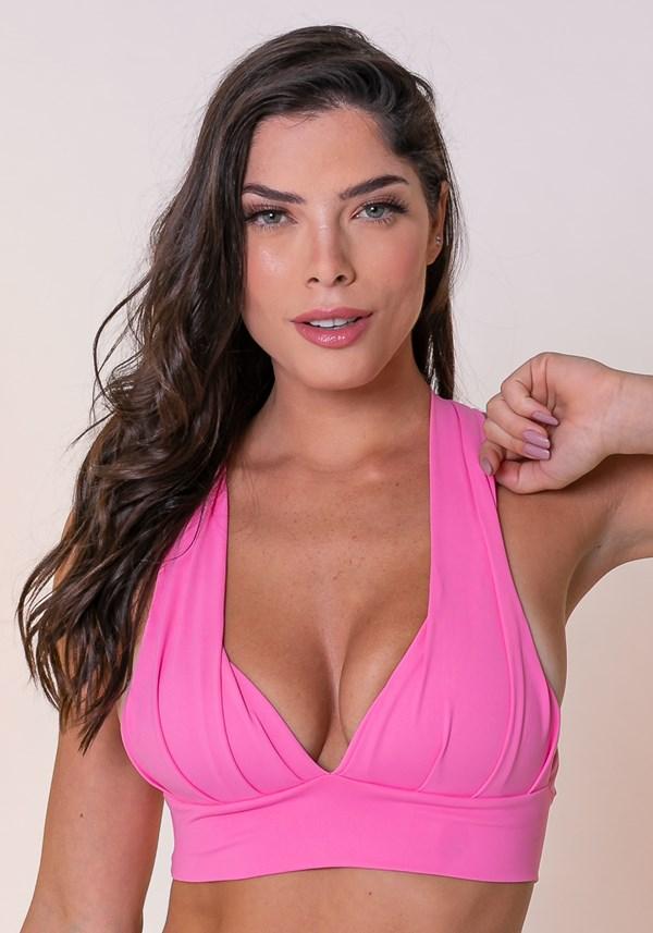Top fitness drapeado rosa chiclete com bojo
