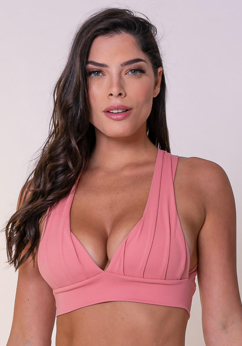 Top fitness drapeado rosê com bojo