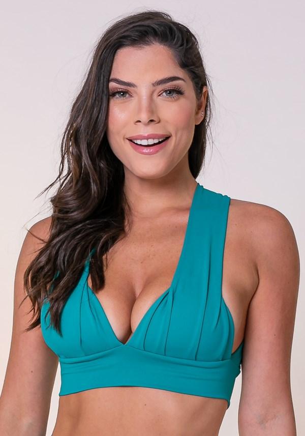 Produto Top fitness drapeado verde com bojo